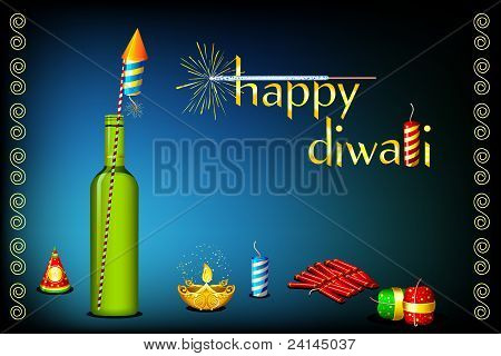 diwali card with fire cracker and diya