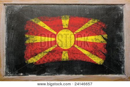 Flag Of Macedonia On Blackboard Painted With Chalk