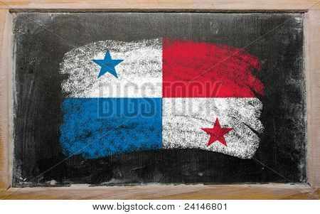 Flag Of Panama On Blackboard Painted With Chalk