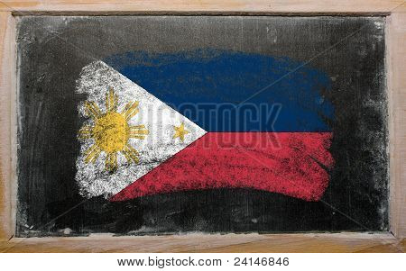 Flag Of Phillipines On Blackboard Painted With Chalk
