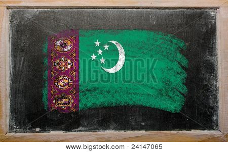 Flag Of Turkmenistan On Blackboard Painted With Chalk