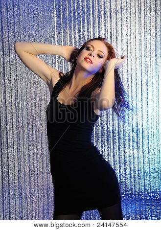 Attractive Sexy Woman Dancing In The Disco And Clubbing