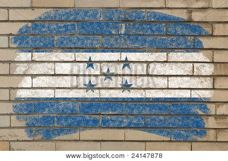 Flag Of Honduras On Grunge Brick Wall Painted With Chalk