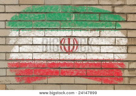 Flag Of Iran On Grunge Brick Wall Painted With Chalk