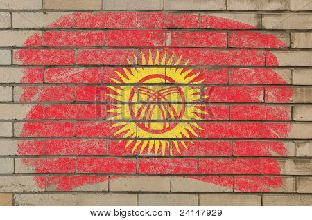 Flag Of Kyrghyzstan On Grunge Brick Wall Painted With Chalk