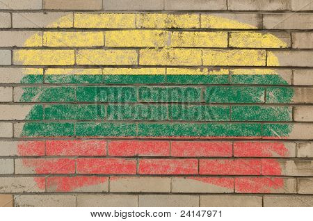 Flag Of Lithuania On Grunge Brick Wall Painted With Chalk