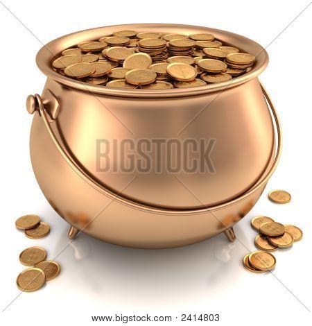 Golden Pot Full Of Gold Coins