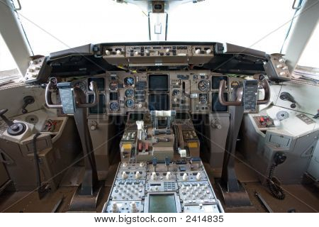 Cockpit Interior Of A Modern Big Airplane