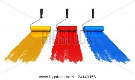 Color roller brushes with trails of paint
