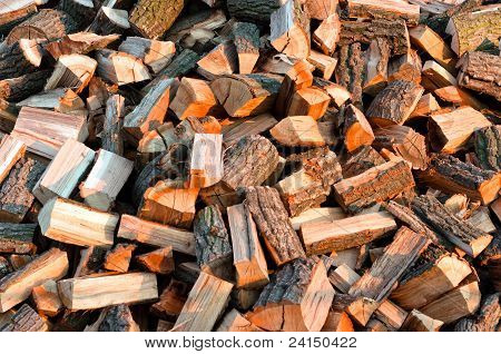 Texture Of Piled Up Firewood For The Winter