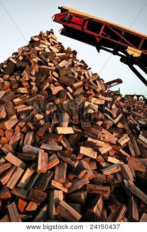 Angle Shot Of A Pile Of Firewood