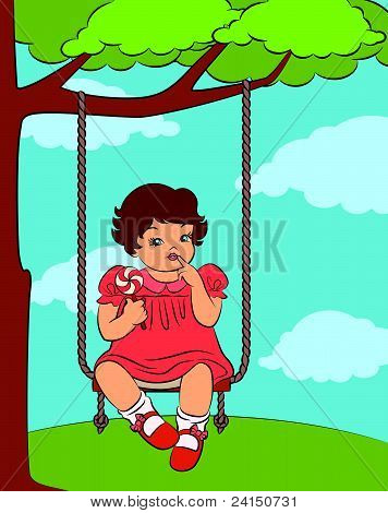 Cartoon girl with a book on the swing vector