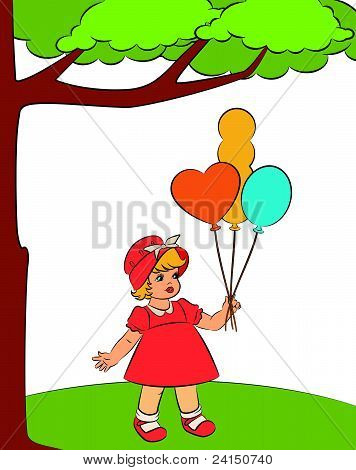 Vintage cartoon girl with coloured balloons vector