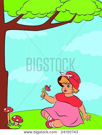 Vintage cartoon girl with a flower on the background. Vector