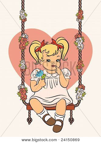Vintage cartoon girl with a swing on the background of the heart.