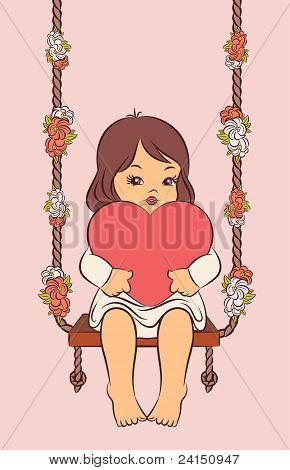 Cartoon little girl with heart on the swings