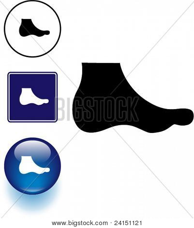 foot symbol sign and button