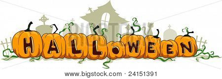 Illustration of Pumpkins Forming the Word Halloween