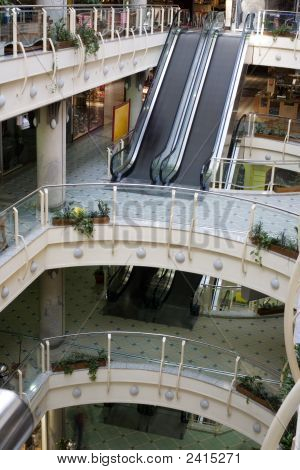 Empty Multilevel Shopping Mall Levels Before Open