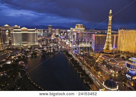 LAS VEGAS, NEVADA - October 6:  Caesars Palace, Bellagio and Paris resorts on the strip. Vegas has 147,611 hotel rooms with a average daily rate of $106 on October 6, 2011 in Las Vegas, Nevada.