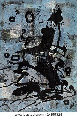 Vivid Black Print In Blue Back