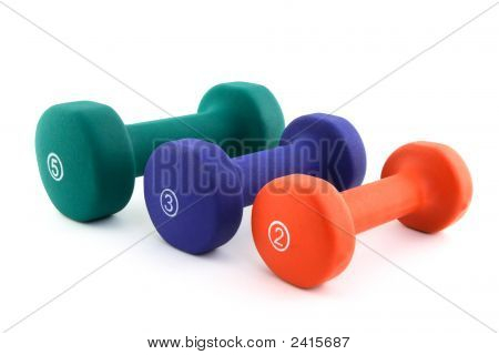 Three Colorful Dumbbells Of Different Size