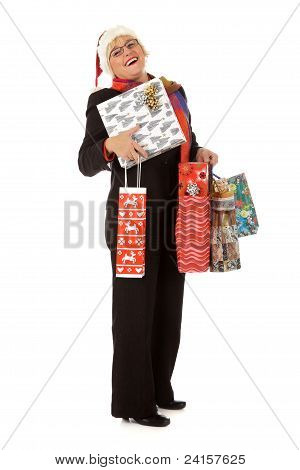 Middle Aged Santa Woman, Many Gifts