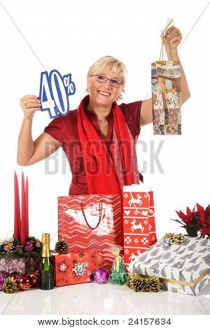 Caucasian Woman, Shopping Bag Discount