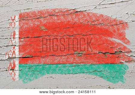 Flag Of Belarus On Grunge Wooden Texture Painted With Chalk
