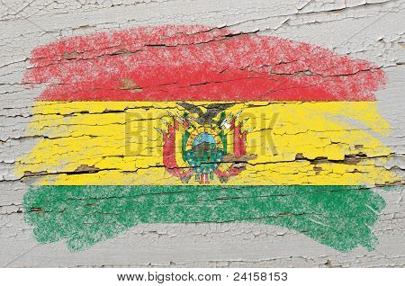 Flag Of Bolivia On Grunge Wooden Texture Painted With Chalk