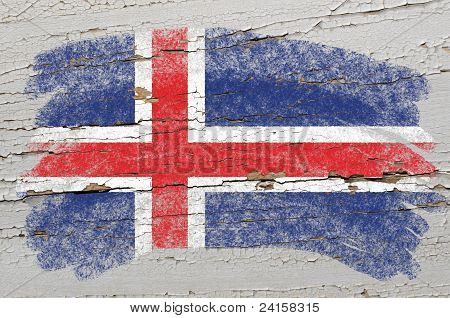 Flag Of Iceland On Grunge Wooden Texture Painted With Chalk