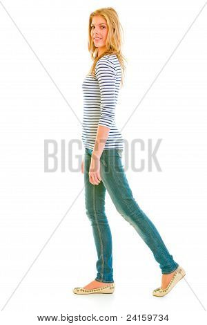 Smiling Teen Girl Making Step