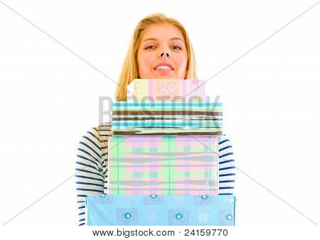 Pretty Teen Girl Holding Stack Of Present Boxes