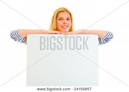 Pretty Teen Girl With Blank Billboard