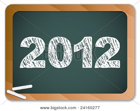 2012 New Year Written On Blackboard With Chalk
