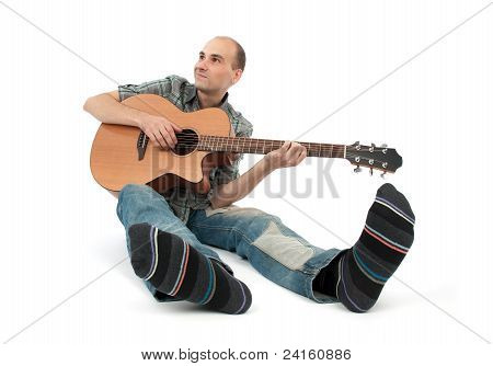 Classical Guitarist With Acoustic Six String Guitar
