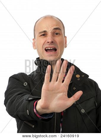 Man Show Stop Sign With His Palm