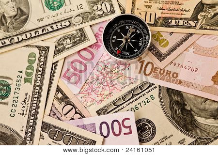 Background of money and compass