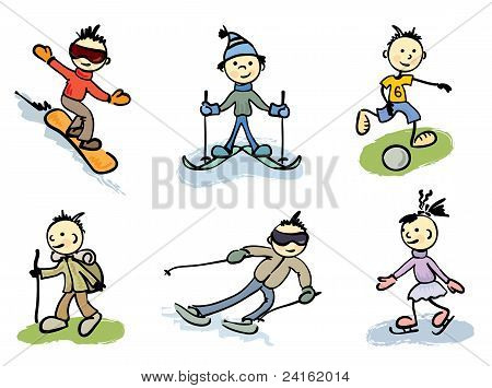 Colored funny little men in sports