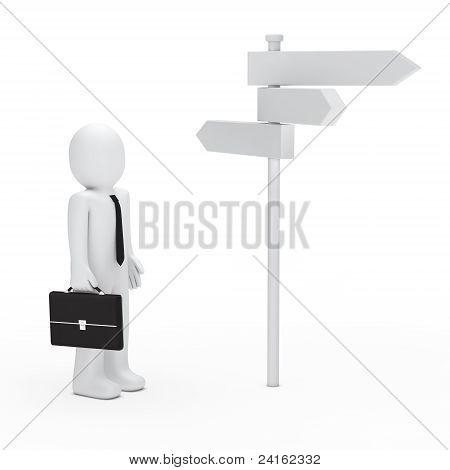 3D Business Man Way Sign