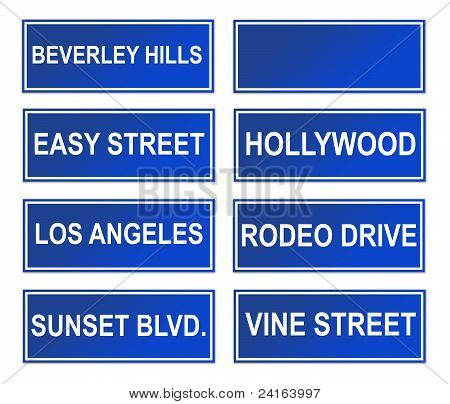 Set Of Los Angeles Street Signs