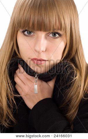 Portrait Of Pretty Girl In Black Overcoat