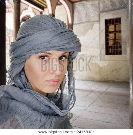 Oriental Style Woman In Shawl