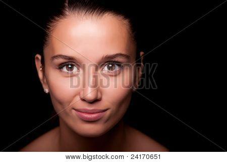 woman portrait on black background
