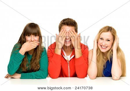 Young people covering their mouths eyes and ears