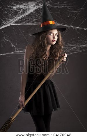 Cute Girl Dressed As Halloween Witch