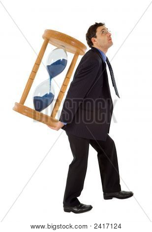 Businessman Working Under Pressure - Isolated