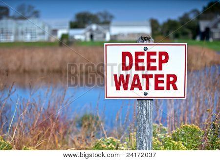 Sign Warning Of Deep Water.