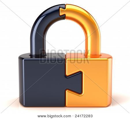 Puzzle Lock padlock security data safeguard concept