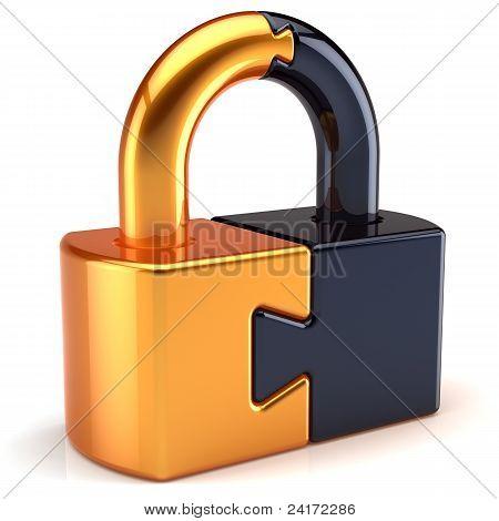 Puzzle lock padlock security icon concept